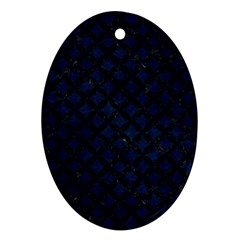Circles3 Black Marble & Blue Grunge (r) Oval Ornament (two Sides) by trendistuff