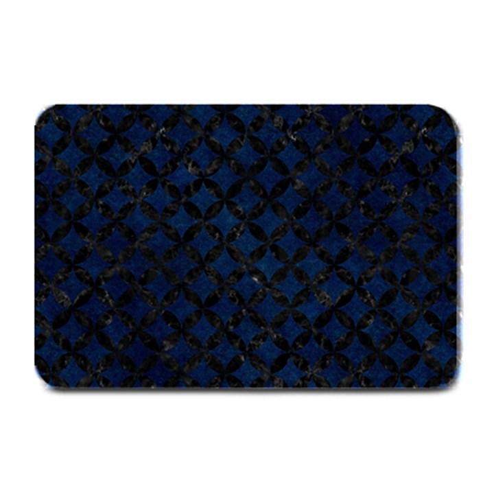 CIRCLES3 BLACK MARBLE & BLUE GRUNGE (R) Plate Mat