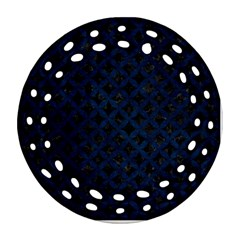 Circles3 Black Marble & Blue Grunge Ornament (round Filigree) by trendistuff