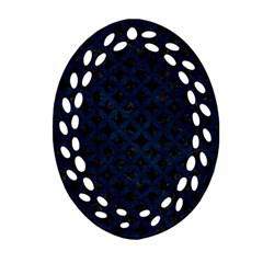 Circles3 Black Marble & Blue Grunge Oval Filigree Ornament (two Sides) by trendistuff