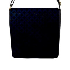 Circles3 Black Marble & Blue Grunge Flap Closure Messenger Bag (l) by trendistuff