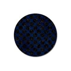 Circles2 Black Marble & Blue Grunge (r) Magnet 3  (round) by trendistuff