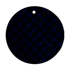 Circles2 Black Marble & Blue Grunge (r) Round Ornament (two Sides) by trendistuff