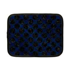 Circles2 Black Marble & Blue Grunge (r) Netbook Case (small) by trendistuff