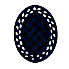 Circles2 Black Marble & Blue Grunge (r) Oval Filigree Ornament (two Sides) by trendistuff