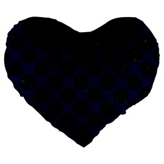 Circles2 Black Marble & Blue Grunge (r) Large 19  Premium Flano Heart Shape Cushion by trendistuff