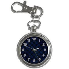 Circles2 Black Marble & Blue Grunge Key Chain Watch by trendistuff