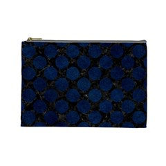 Circles2 Black Marble & Blue Grunge Cosmetic Bag (large) by trendistuff