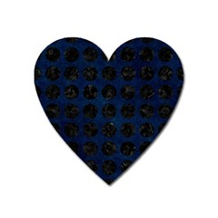 Circles1 Black Marble & Blue Grunge (r) Magnet (heart) by trendistuff