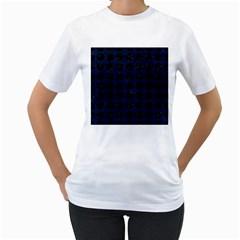 Circles1 Black Marble & Blue Grunge (r) Women s T Shirt (white)  by trendistuff