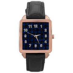 Circles1 Black Marble & Blue Grunge Rose Gold Leather Watch  by trendistuff