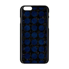 Circles1 Black Marble & Blue Grunge Apple Iphone 6/6s Black Enamel Case by trendistuff