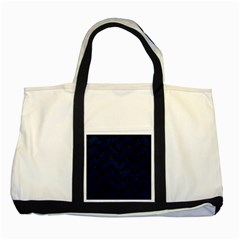 Chevron9 Black Marble & Blue Grunge (r) Two Tone Tote Bag by trendistuff