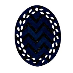 Chevron9 Black Marble & Blue Grunge (r) Ornament (oval Filigree) by trendistuff