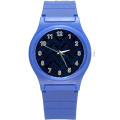 Chevron9 Black Marble & Blue Grunge (r) Round Plastic Sport Watch (s) by trendistuff