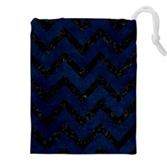 Chevron9 Black Marble & Blue Grunge (r) Drawstring Pouch (xxl)