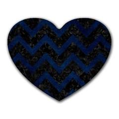 Chevron9 Black Marble & Blue Grunge Heart Mousepad by trendistuff