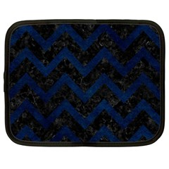 Chevron9 Black Marble & Blue Grunge Netbook Case (large) by trendistuff