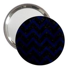 Chevron9 Black Marble & Blue Grunge 3  Handbag Mirror by trendistuff