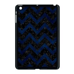Chevron9 Black Marble & Blue Grunge Apple Ipad Mini Case (black) by trendistuff