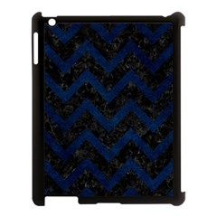 Chevron9 Black Marble & Blue Grunge Apple Ipad 3/4 Case (black) by trendistuff