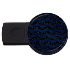 Chevron3 Black Marble & Blue Grunge Usb Flash Drive Round (2 Gb) by trendistuff