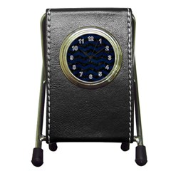 Chevron3 Black Marble & Blue Grunge Pen Holder Desk Clock by trendistuff