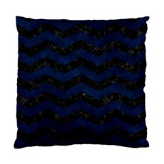 Chevron3 Black Marble & Blue Grunge Standard Cushion Case (two Sides) by trendistuff
