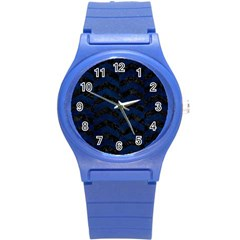 Chevron2 Black Marble & Blue Grunge Round Plastic Sport Watch (s) by trendistuff
