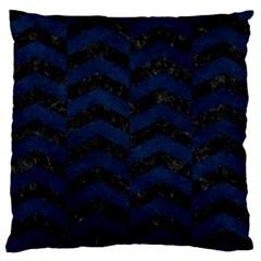 Chevron2 Black Marble & Blue Grunge Large Flano Cushion Case (one Side) by trendistuff