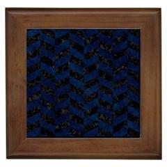 Chevron1 Black Marble & Blue Grunge Framed Tile by trendistuff