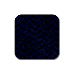 Chevron1 Black Marble & Blue Grunge Rubber Square Coaster (4 Pack) by trendistuff