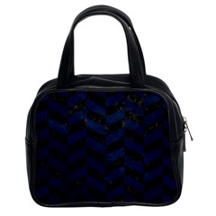 Chevron1 Black Marble & Blue Grunge Classic Handbag (two Sides) by trendistuff
