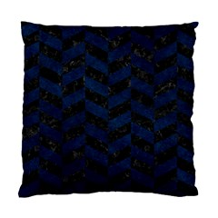 Chevron1 Black Marble & Blue Grunge Standard Cushion Case (one Side) by trendistuff
