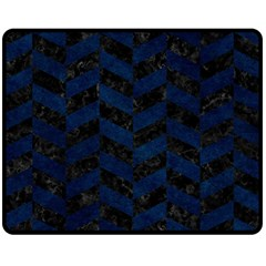 Chevron1 Black Marble & Blue Grunge Fleece Blanket (medium) by trendistuff