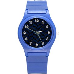Chevron1 Black Marble & Blue Grunge Round Plastic Sport Watch (s) by trendistuff