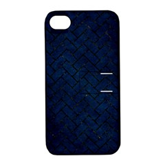 Brick2 Black Marble & Blue Grunge (r) Apple Iphone 4/4s Hardshell Case With Stand by trendistuff