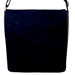 Brick2 Black Marble & Blue Grunge (r) Flap Closure Messenger Bag (s) by trendistuff