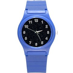 Brick2 Black Marble & Blue Grunge Round Plastic Sport Watch (s) by trendistuff