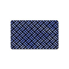 Woven2 Black Marble & Blue Watercolor Magnet (name Card) by trendistuff