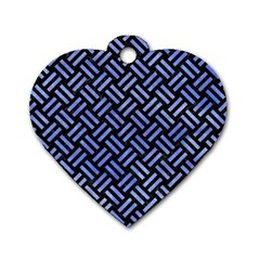 Woven2 Black Marble & Blue Watercolor Dog Tag Heart (one Side) by trendistuff