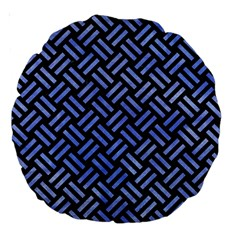Woven2 Black Marble & Blue Watercolor Large 18  Premium Round Cushion  by trendistuff