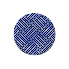 Woven2 Black Marble & Blue Watercolor (r) Magnet 3  (round) by trendistuff