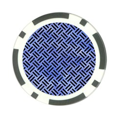 Woven2 Black Marble & Blue Watercolor (r) Poker Chip Card Guard by trendistuff