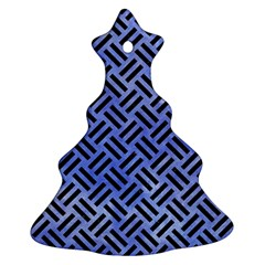 Woven2 Black Marble & Blue Watercolor (r) Ornament (christmas Tree)  by trendistuff