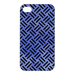 Woven2 Black Marble & Blue Watercolor (r) Apple Iphone 4/4s Premium Hardshell Case by trendistuff