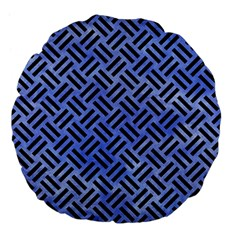 Woven2 Black Marble & Blue Watercolor (r) Large 18  Premium Flano Round Cushion  by trendistuff