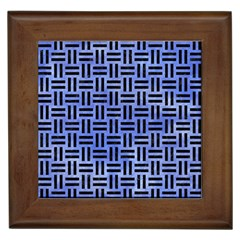 Woven1 Black Marble & Blue Watercolor (r) Framed Tile by trendistuff