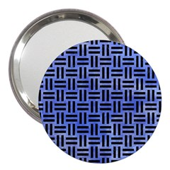 Woven1 Black Marble & Blue Watercolor (r) 3  Handbag Mirror