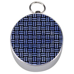 Woven1 Black Marble & Blue Watercolor Silver Compass by trendistuff